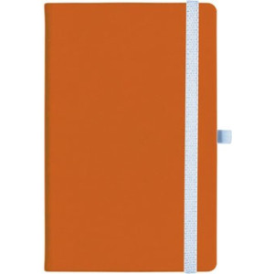 notatnik w linię - KK-NL-A5-CH-N602 POMARAŃCZOWY Gumka 01 BIAŁA