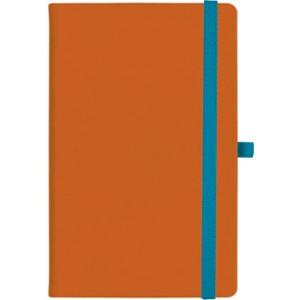 notatnik w linię - KK-NL-A5-CH-N602 POMARAŃCZOWY Gumka 02 NIEBIESKA