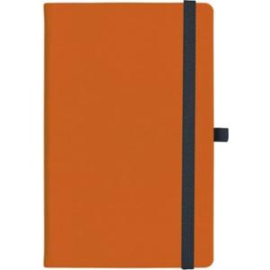notatnik w linię - KK-NL-A5-CH-N602 POMARAŃCZOWY Gumka 03 CZARNA