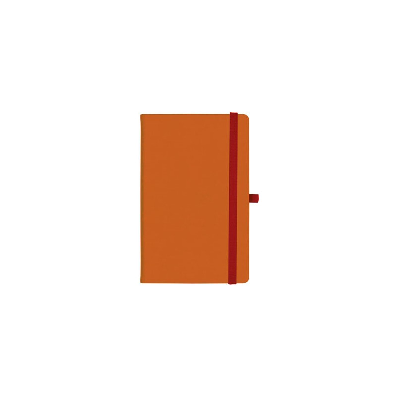 notatnik w linię - KK-NL-A5-CH-N602 POMARAŃCZOWY Gumka 04 CZERWONA