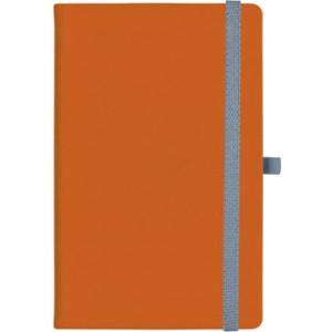 notatnik w linię - KK-NL-A5-CH-N602 POMARAŃCZOWY Gumka 07 SZARA