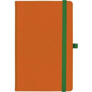 notatnik w linię - KK-NL-A5-CH-N602 POMARAŃCZOWY Gumka 08 ZIELONA