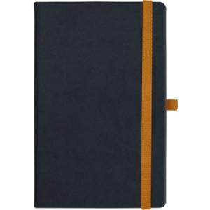 notatnik w linię - KK-NL-A5-CH-N604 CZARNY Gumka 06 POMARAŃCZOWA