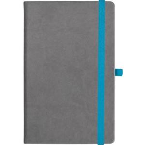 notatnik w linię - KK-NL-A5-CH-N605 SZARY Gumka 02 NIEBIESKA