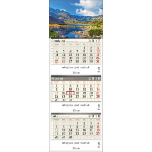 kalendarz trójdzielny- DOLINA 5 STAWÓW POLSKICH spiralowany
