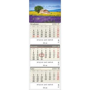 kalendarz trójdzielny- LAWENDOWA POLANA spiralowany
