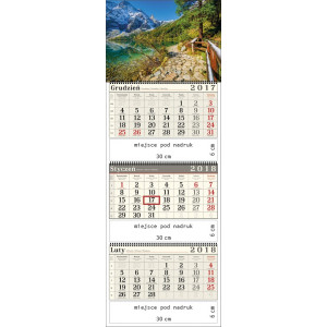 kalendarz trójdzielny- GÓRSKIE JEZIORO spiralowany