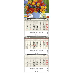 kalendarz trójdzielny- BUKIET KWIATÓW spiralowany