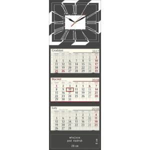 kalendarz trójdzielny z zegarem LUX - BRĄZOWY
