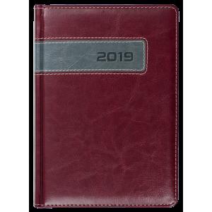 COMBO * A4 dzienny z registrem  BORDOWY / SZARY kalendarz ksiąžkowy