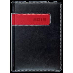 COMBO * A5 dzienny z registrem CZARNY / CZERWONY kalendarz książkowy