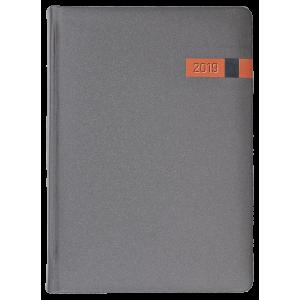 COSMO * A5 dzienna  GRAFITOWY / POMARAŃCZOWY kalendarz książkowy