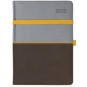 ZIGGO * A5 dzienny SZARY / BRĄZOWY kalendarz książkowy