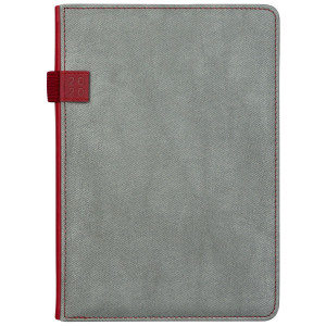 DENIM * A5 dzienny SZARY / CZERWONY kalendarz książkowy