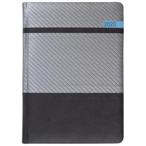 STELLA * A5 dzienny  SREBRNY / CZARNY / NIEBIESKI kalendarz książkowy