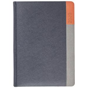 LUNA * A5 dzienny  GRAFITOWY / SZARY / POMARAŃCZOWY kalendarz książkowy