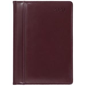 SKÓRA * A4 dzienny z registrem BORDOWY kalendarz książkowy