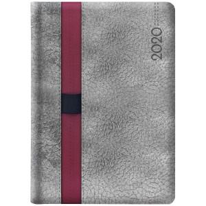 LOOPEN * B5 dzienny SZARY / BORDOWY kalendarz książkowy