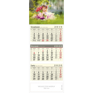 kalendarz trójdzielny - DZIEWCZYNKA
