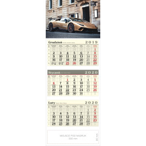 kalendarz trójdzielny - SPORTOWY SAMOCHÓD