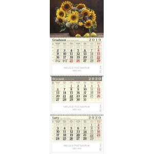 kalendarz trójdzielny spiralowany - SŁONECZNIKI