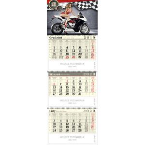 kalendarz trójdzielny spiralowany - DZIEWCZYNA I MOTOR