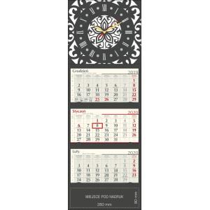 kalendarz trójdzielny z zegarem LUX - GRAFITOWY