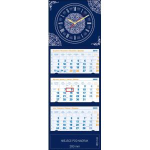 kalendarz trójdzielny z zegarem LUX - GRANATOWY