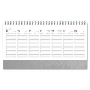 Kalendarz Biurkowy - stojący - Tygodniowy - NEBRASKA - SREBRNA