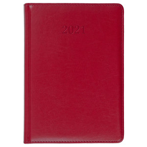 ELITE * A4 dzienny z registrem CZERWONY kalendarz książkowy