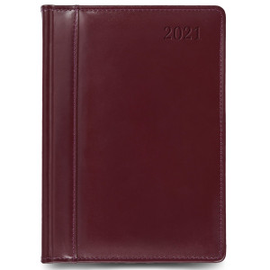 SKÓRA * A5 dzienny z registrem BORDOWY kalendarz książkowy
