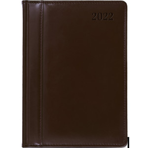 SKÓRA * A4 tygodniowy z registrem BRĄZOWY kalendarz książkowy