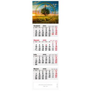 kalendarz czterodzielny - ZEGAR DRZEWO
